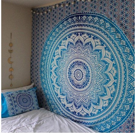 Indian Mandala Tapestry Green Blue Flower Beautiful Wall Art Tapestry 210x150cm Bedspread Beach Towel Yoga Blanket Table Cloth