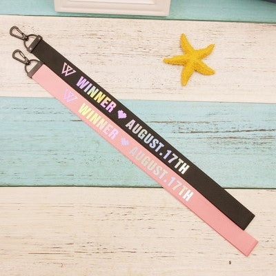 Kpop Winner Member Name Laser Long Lanyard Keychain Phone Strap Fashion Necklace Bag Pendant Key Holder