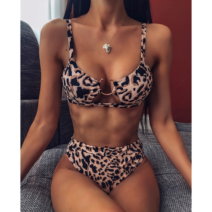 Ladies split swimsuit leopard print