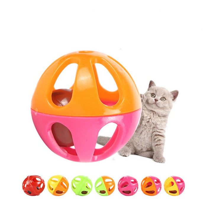 Cat toy plastic two color bell toy ball