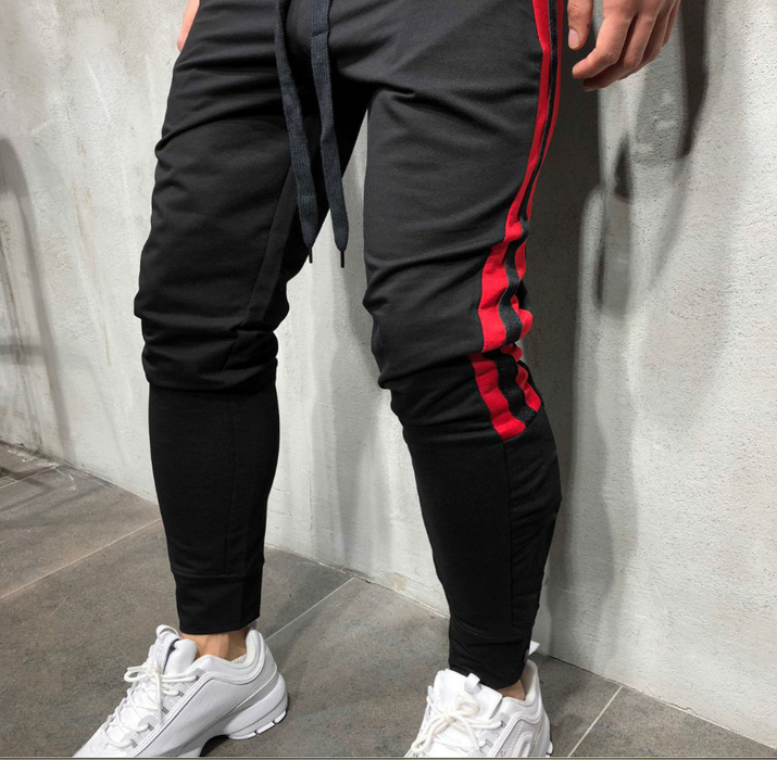 Muscle fitness brothers new fitness trousers men's autumn and winter models beam mouth stretch breathable running training trousers