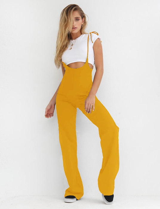 Lace-up high waist pants overalls