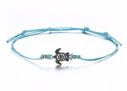 Wish cross-border new vintage wax rope turtle anklet bracelet Ancient silver three-color turtle beach anklet wholesale