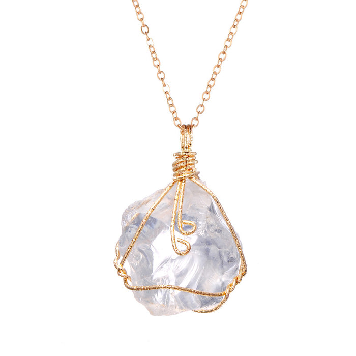 Europe and the United States selling natural stone ore irregular Amethyst Necklace Pendant wire twisted white crystal powder