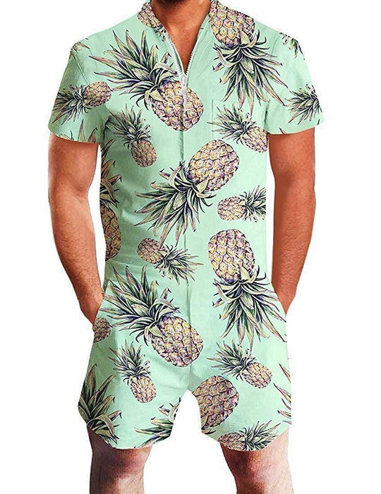 Summer short-sleeve jumpsuit Hawaiian Pineapple