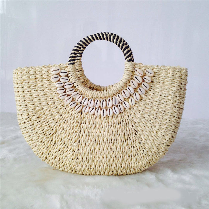 Hand-stitched shell bag round bucket bag