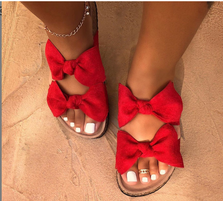Bow flat slipper