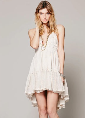 Foreign trade new women's clothing free people sexy beach short skirt holiday halter dress