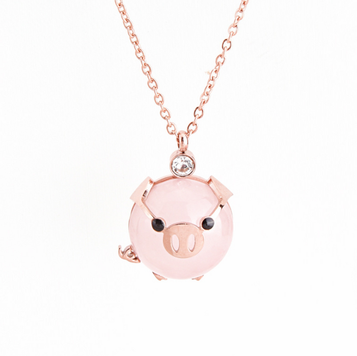 Rich pig clavicle chain cute animal pink pig necklace