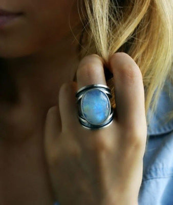 Colorful moonstone ring