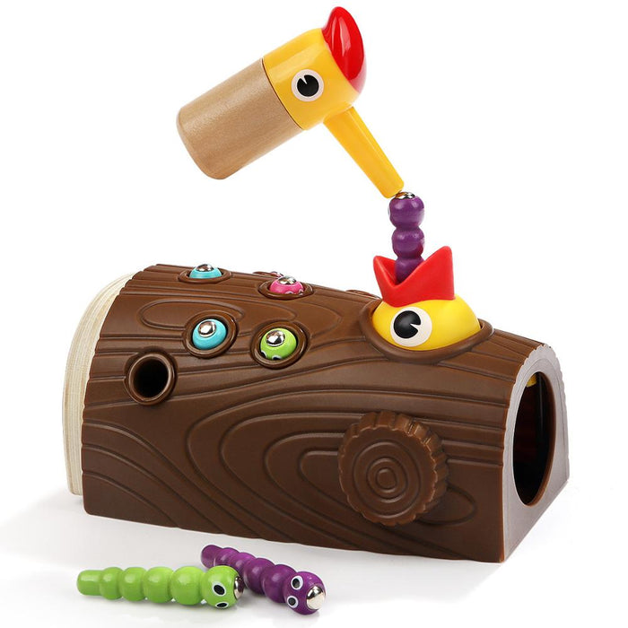 Wooden magnetic fishing game woodpecker