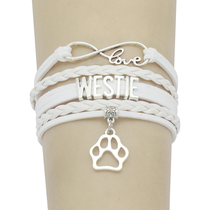 Alloy dog paw pendant braided bracelet