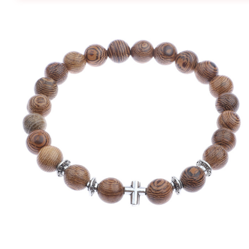 Wood grain bead bracelet