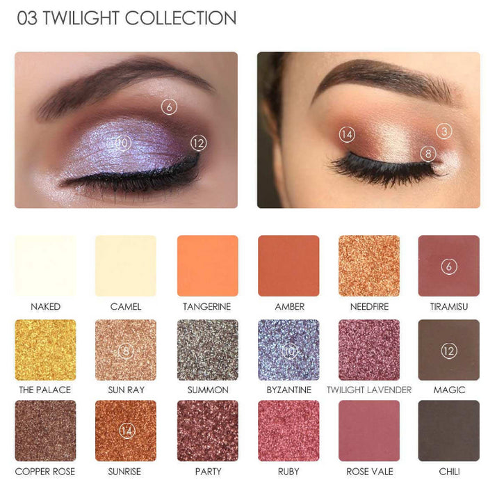 Focallure Pro - 18 Colors Glitter and Matte Eyeshadow