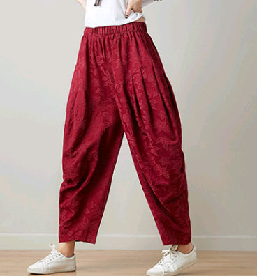 Original ethnic style women's jacquard pants 2020 spring and summer elastic waist pants trousers women