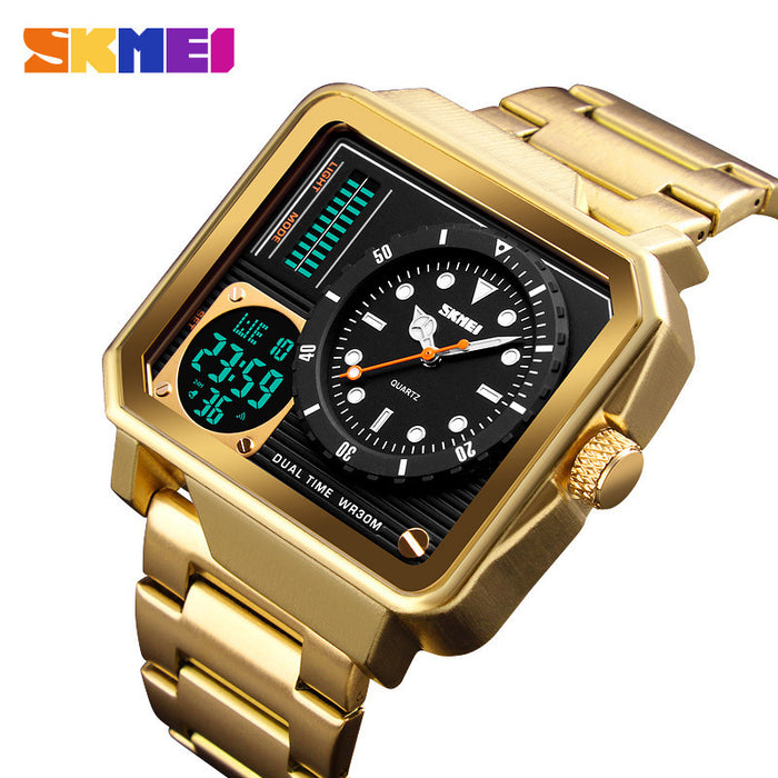 Multi-function watch outdoor sports double display business fashion big dial waterproof male electronic watch