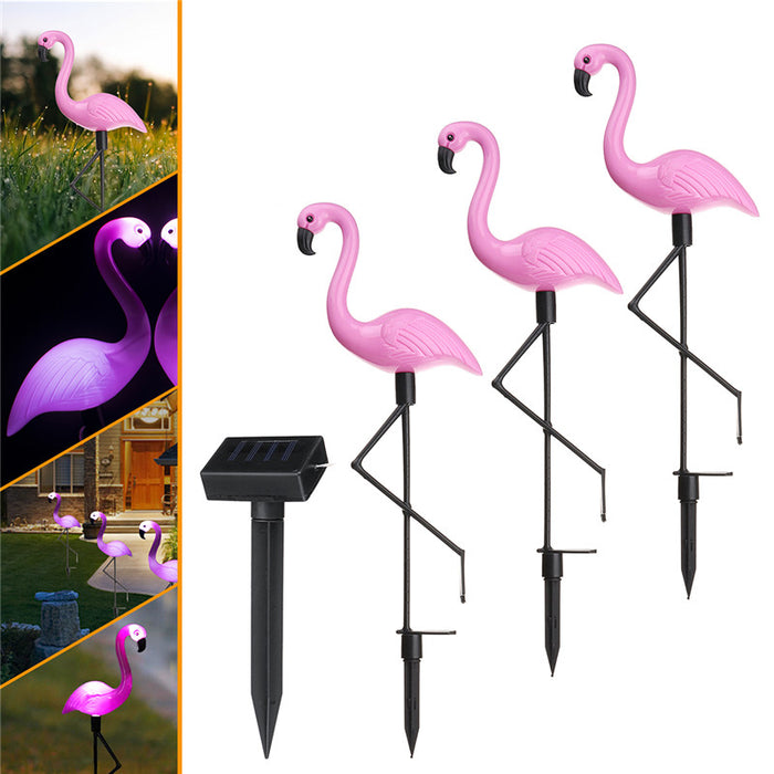 Solar light one for three flamingo outdoor waterproof garden courtyard to insert lawn landscape lights