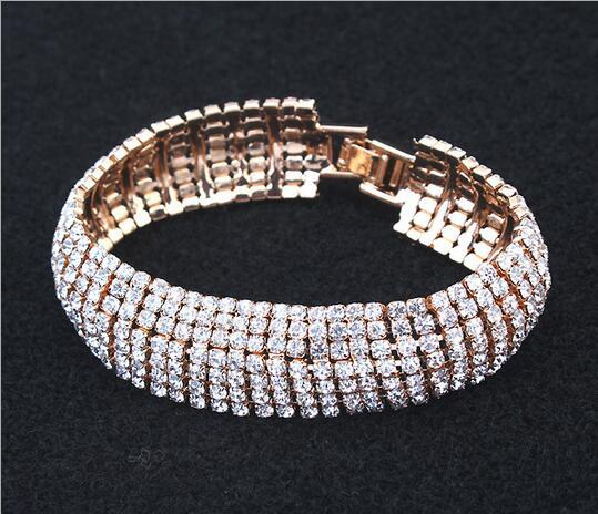 2020 new bride foreign trade jewelry crystal bracelet wholesale purchase sparkling rhinestone multi-row diamond geometry bracelet