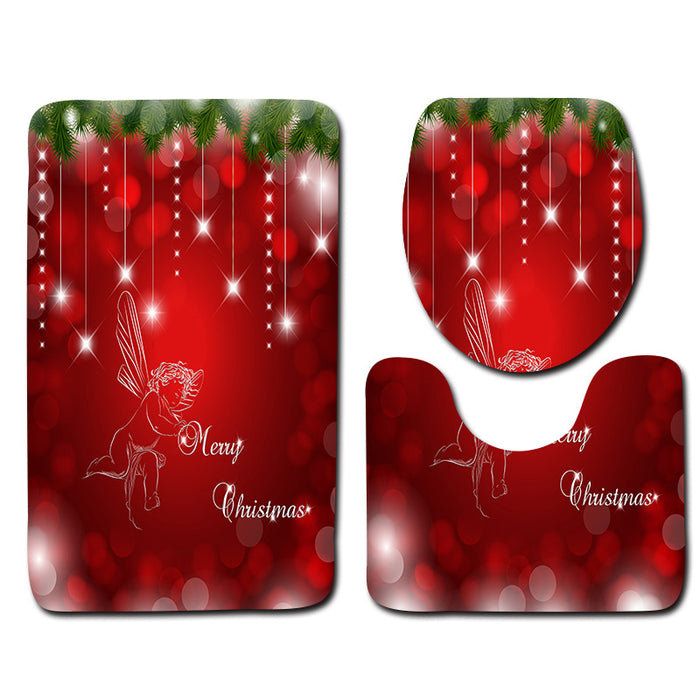 Christmas three piece bathroom toilet mat mat bathroom carpet eBay Amazon aliexpress spot supply