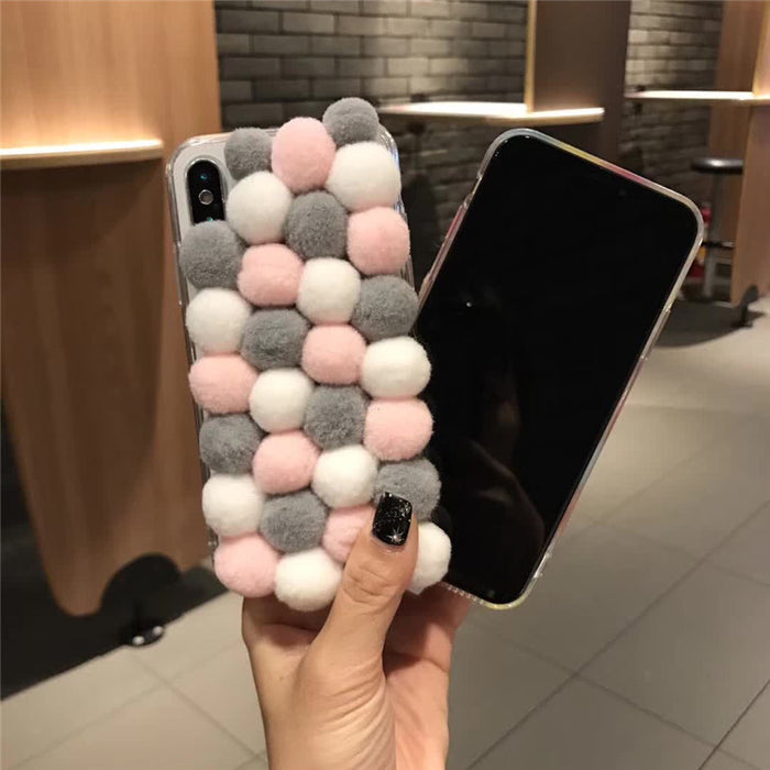 New iPhoneX wave point iPhone78/8 plus wool ball protection sleeve 6/6plus female tide warm