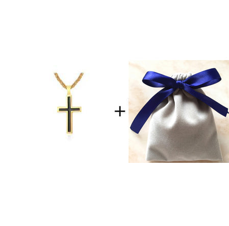18K Gold and Silver Cross Necklace