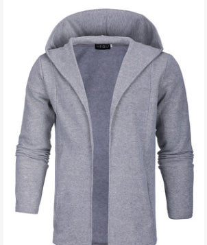 Men's casual hoodie men's casual hip-hop style long cardigan pure color sweater tide