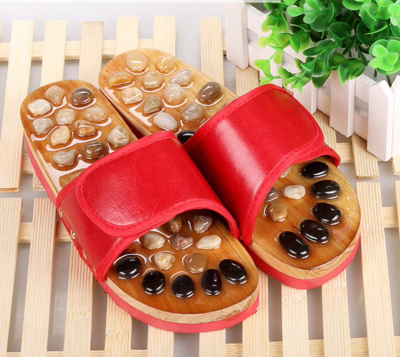 Natural color jade stone jade pebbles foot soles health massage shoes home slippers