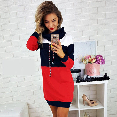 High neck color matching knit long sleeve d