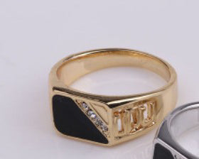 Drop oil ring European and American classic square fashion men's ring