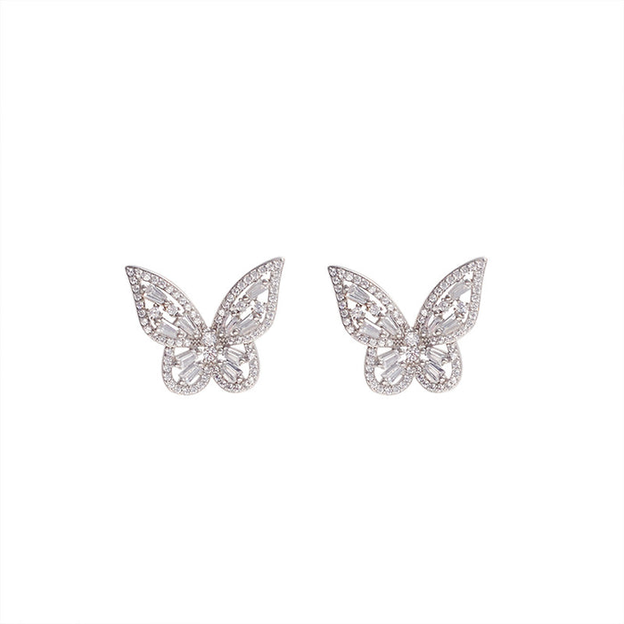 Super Flash Butterfly Zircon Earrings