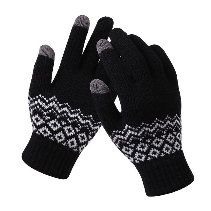 Couple knitted gloves touch screen gloves