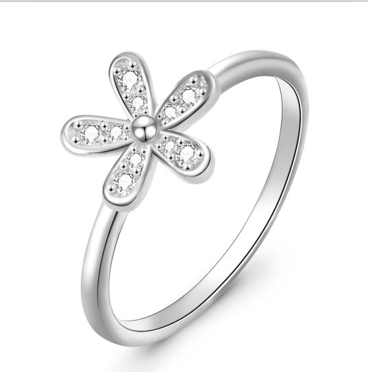 Fast sell Amazon 925 Silver Flower Ring
