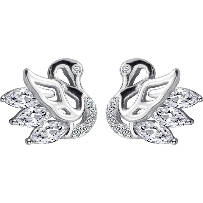Diamond swan earrings