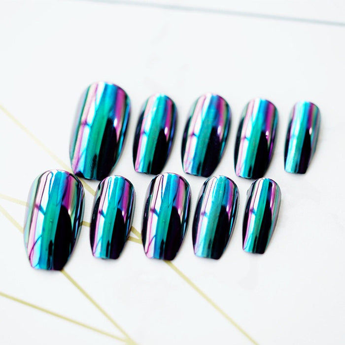 24pcs/set of high quality acrylic fake nails color changing mirror fake nails black super long gloss/matte nails artificial nail