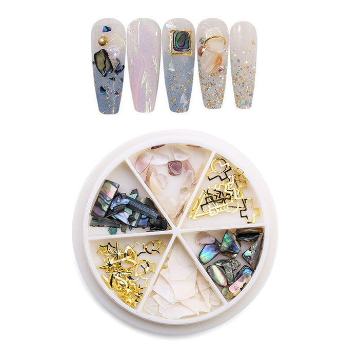 Nail Art Decoration 6 Grid Mixed Turntable Jewelry 3D Butterfly Colorful Sequins Rhinestone DIY Nails Tools Charm Accessories