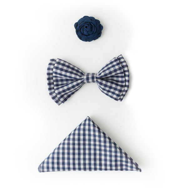 Bowtie, Pocket Square and Lapel Button Set