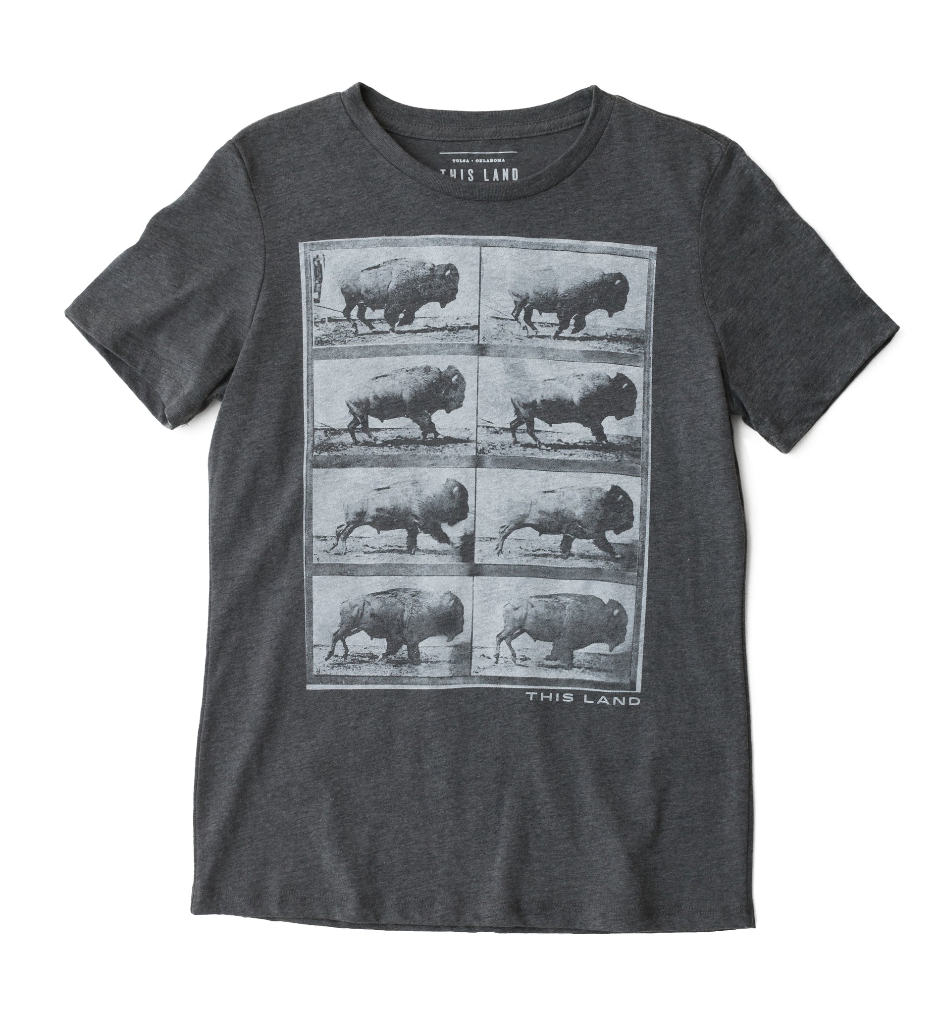 Women's Running Bison T-Shirt - Heather Charcoal