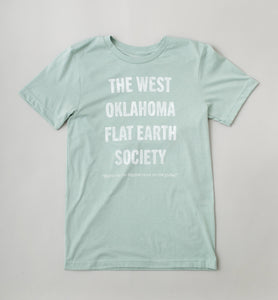West Oklahoma Flat Earth T-Shirt - Dusty Blue