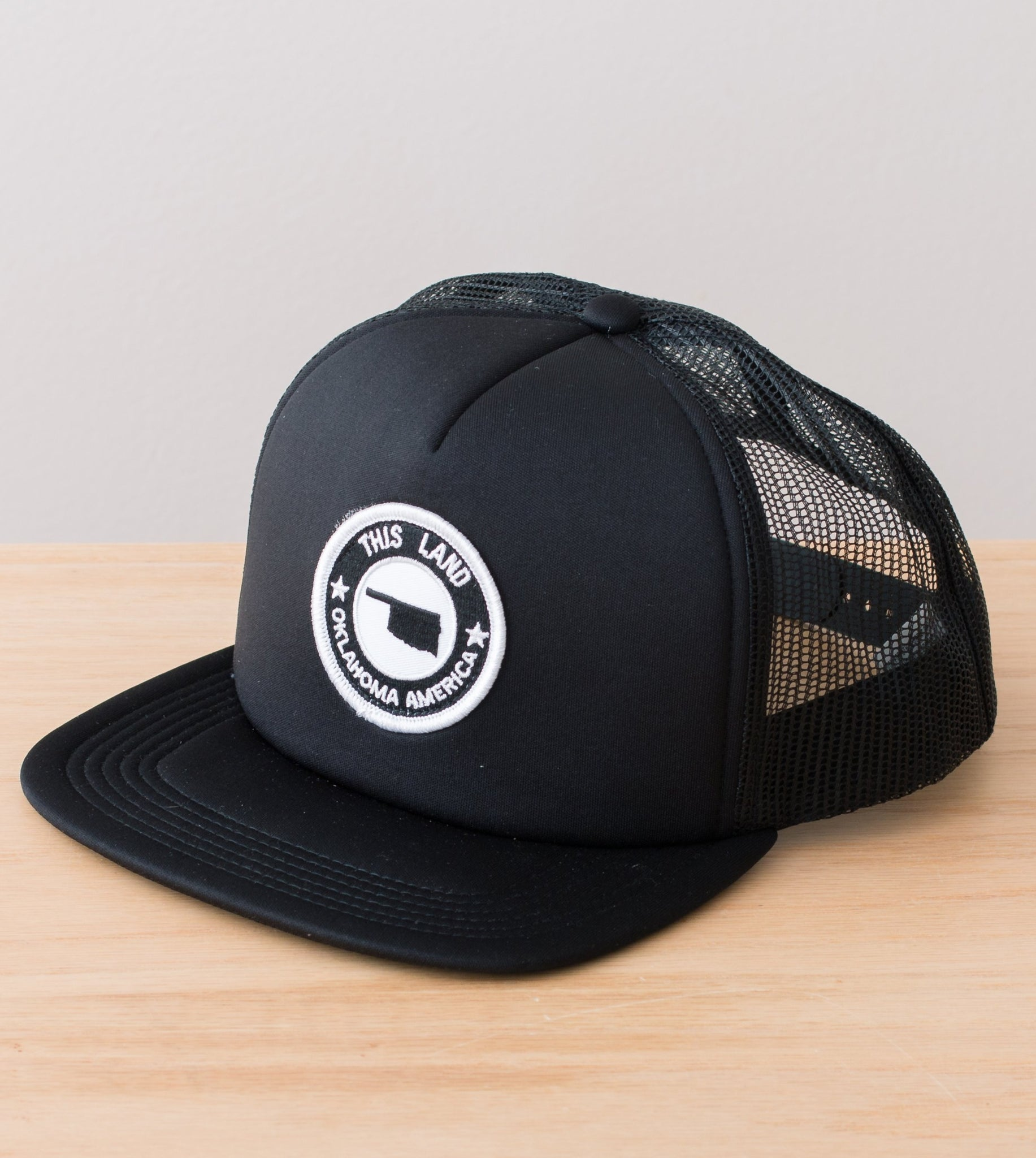 Logo Patch Trucker Hat - Black