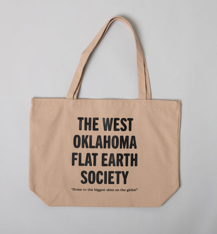 West Oklahoma Flat Earth Society Tote Bag in Khaki Canvas