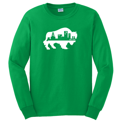 "BUFFALO SKYLINE ""Irish Green"" - Long Sleeve T-Shirt"