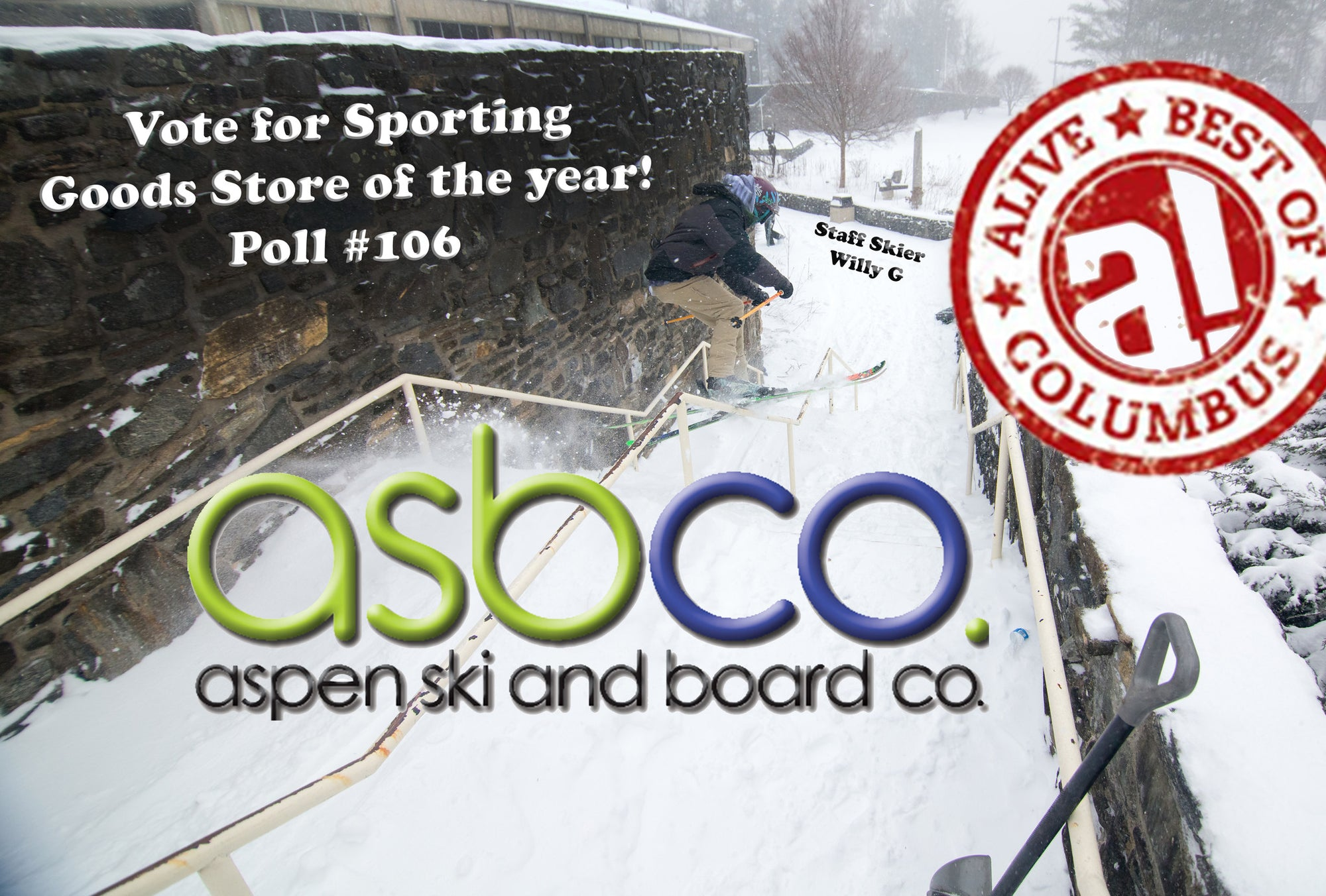 Aspen Ski and Board has been nominated by Columbus Alive for best Sporting Goods Store in Columbus