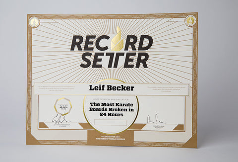 """Official World Record Holder"" Certificate"