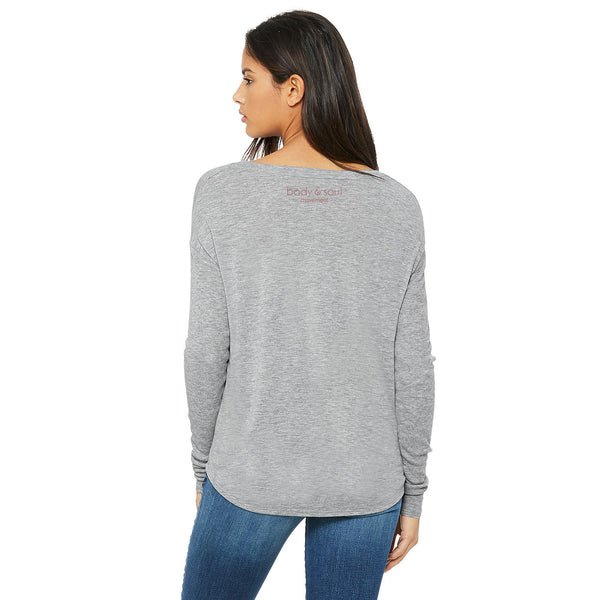 Body & Soul Movement - SOUL-FULL Flowy Long Sleeve Tee (Grey)
