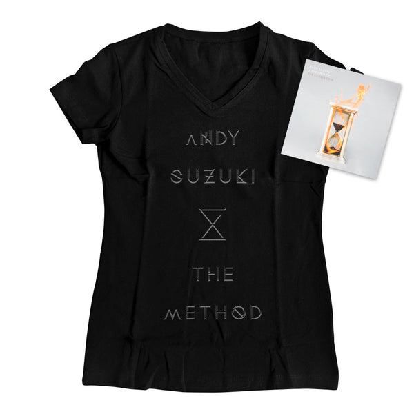 Andy Suzuki & The Method - Ladies V-Neck Logo Tee + 'The Glass Hour' Deluxe CD Bundle
