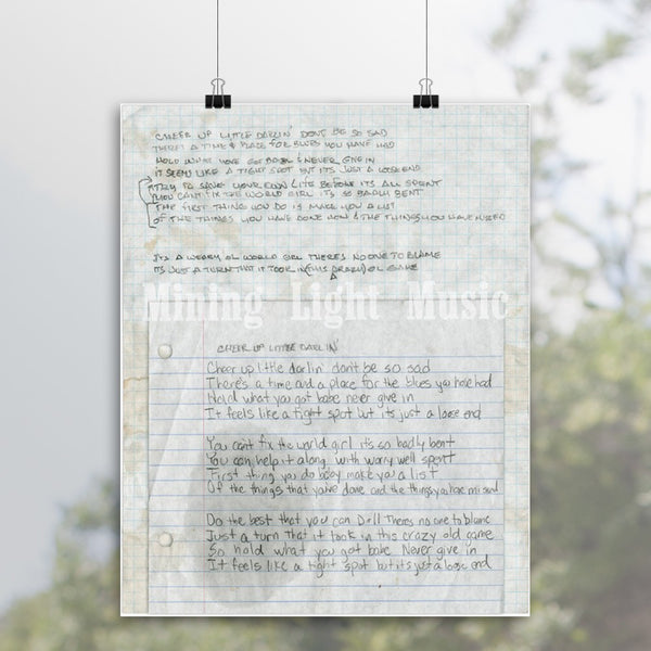 Angaleena Presley - Signed Cheer Up Little Darling Lyric Print