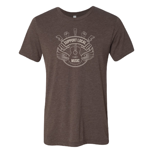 Support Local Music - Lightning Bolt Fist Tee (Brown)