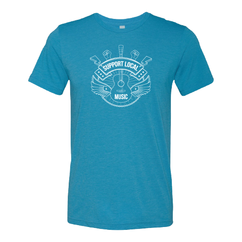 Support Local Music - Lightning Bolt Fist Tee (Steel Blue)