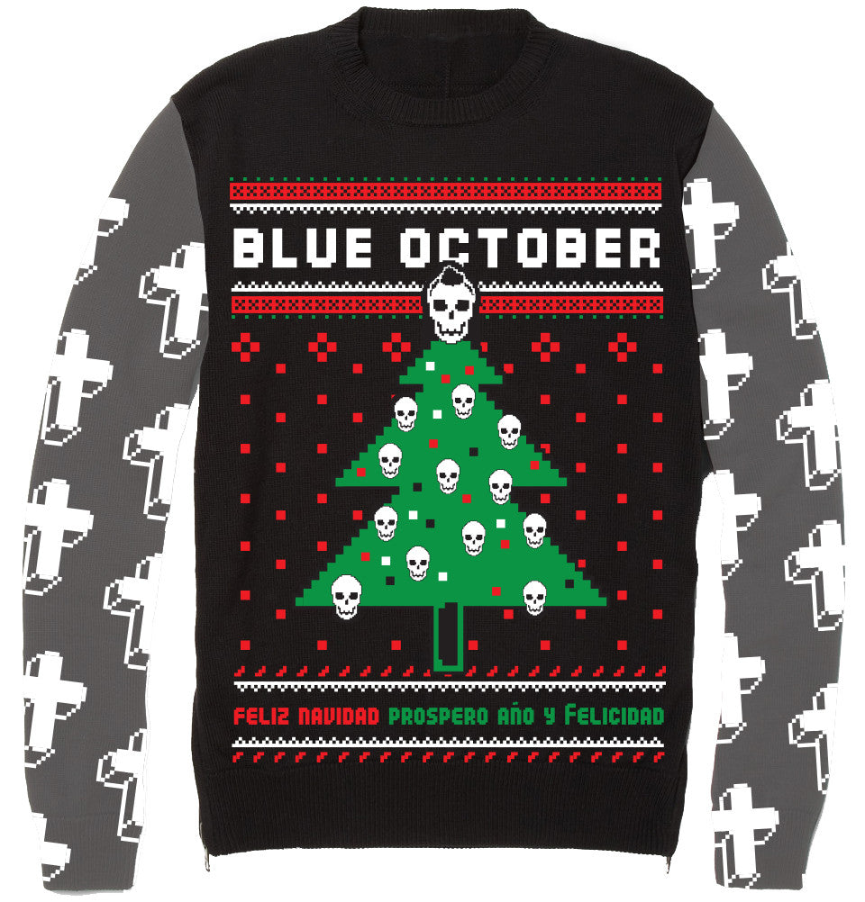 Ugly Christmas Sweaters.Blue October Ugly Christmas Sweater