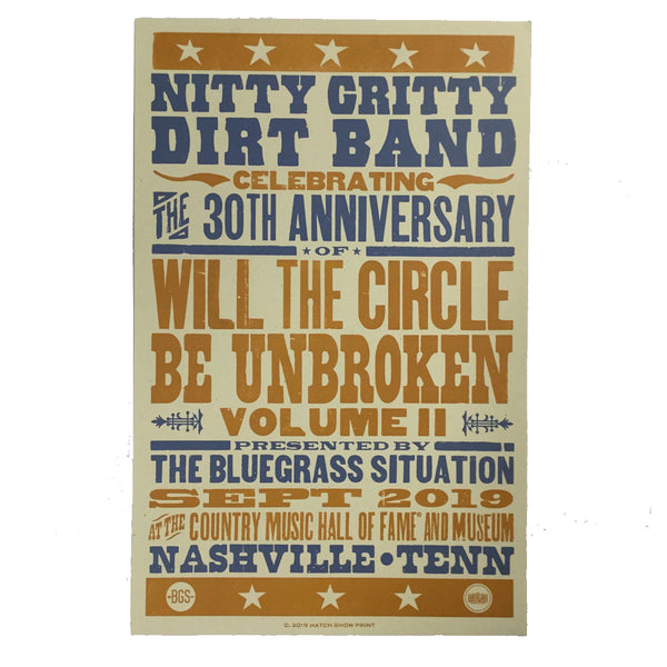 The Bluegrass Situation - BGS x Nitty Gritty Dirt Band at AmericanaFest 2019 screenprint poster (limited edition)